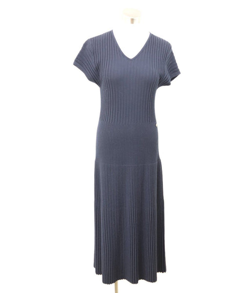 Chanel Navy Wool Dress Sz 8