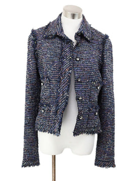 Chanel Blue Purple Green Wool Cotton Jacket 1