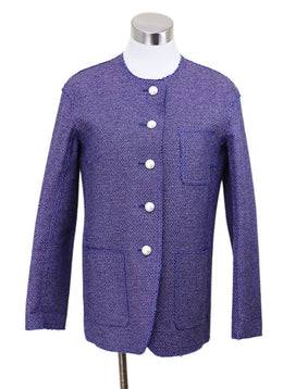 Chanel Blue Pink Polyester Cotton Pearl Button Jacket
