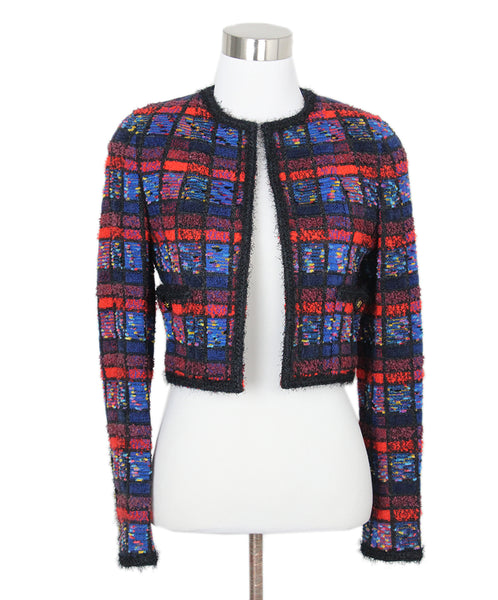 Chanel Blue Red Black Wool Jacket 1