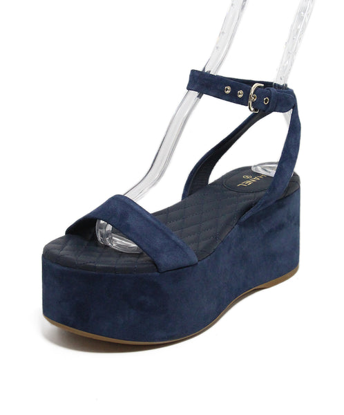 Chanel Blue Suede Sandals 1