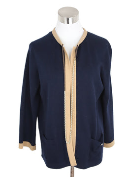 Chanel Navy and Tan Trim Cashmere Cardigan 1