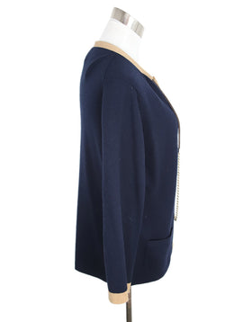 Chanel Navy and Tan Trim Cashmere Cardigan 2
