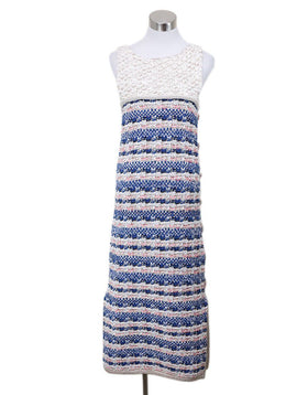 Chanel White Gold Blue Pink Rayon Cotton Dress Sz 8