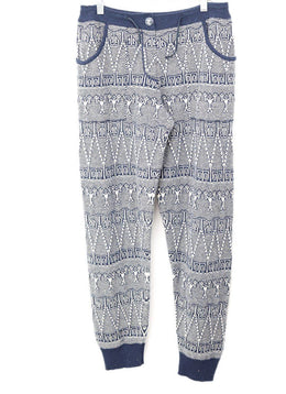 Chanel Blue White Print Cashmere Pants 1