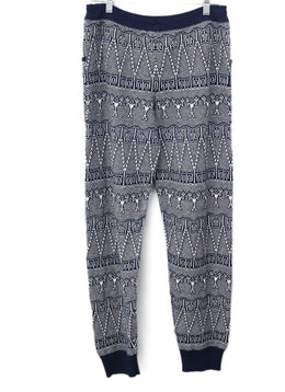 Chanel Blue White Print Cashmere Pants 2