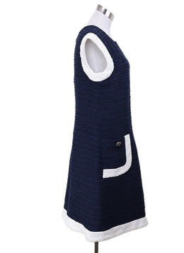 Chanel Blue Cotton Navy White Trim Dress 1