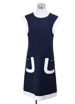 Chanel Blue Cotton Navy White Trim Dress