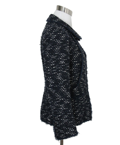Chanel Blue White Tweed Wool Jacket 1
