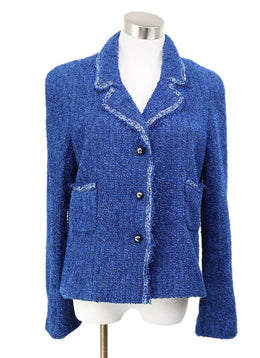 Chanel Blue Royal Polyamide White Trim Jacket 1