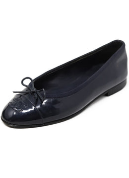 Chanel Navy Patent Leather Flats