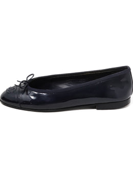 Chanel Navy Patent Leather Flats 1