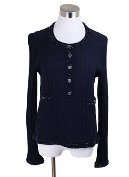Chanel Blue Navy Cotton Beaded Trim Sweater 1