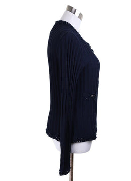 Chanel Blue Navy Cotton Beaded Trim Sweater 2