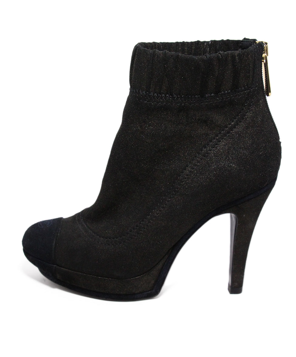 Chanel Brown Black Leather Suede Booties 2
