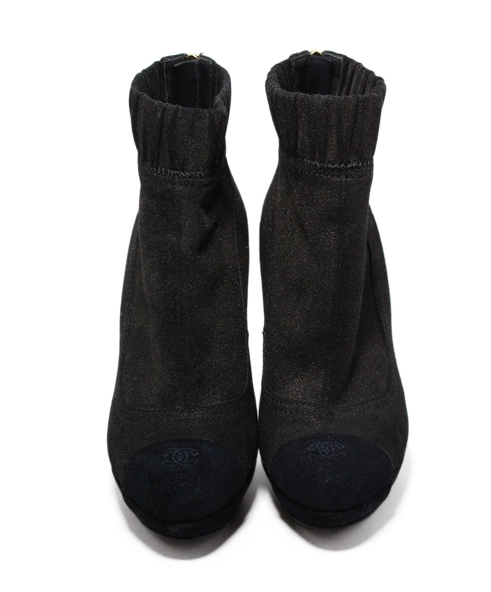 Chanel Brown Black Leather Suede Booties 4