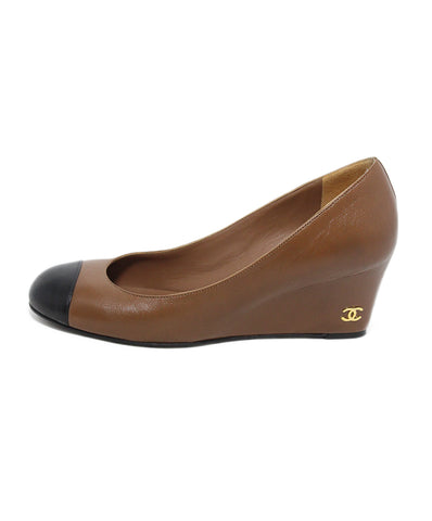 Chanel Brown Black Leather Wedges 1