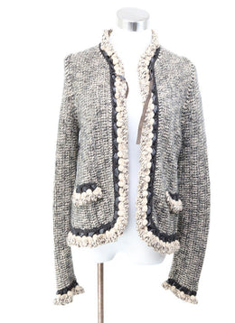 Chanel Brown Cream Wool Cashmere Cardigan 1