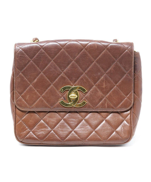 Chanel Vintage Brown Quilted Lambskin Shoulderbag
