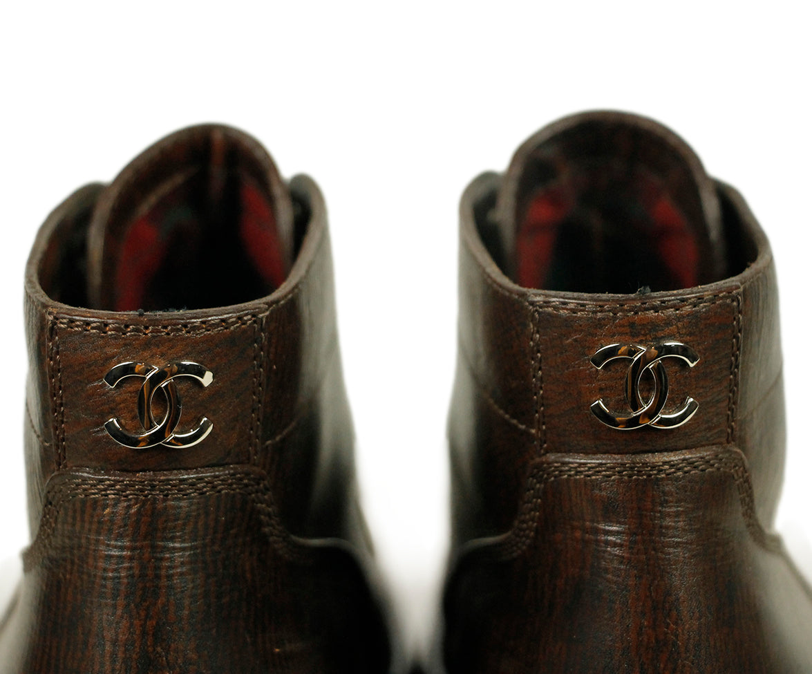 Chanel Brown Leather Boots 5