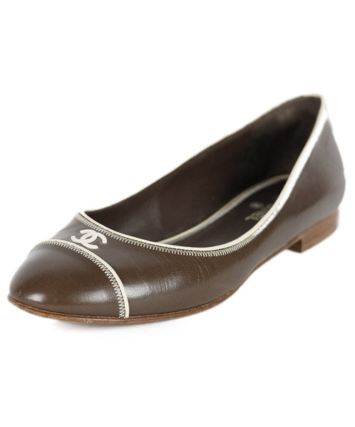Chanel Brown Leather Bone Accent Shoes Sz 37.5