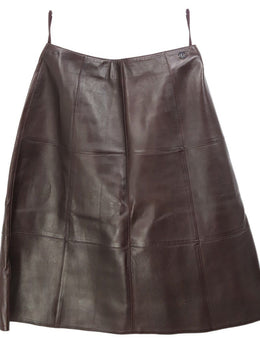 Chanel Brown Leather Skirt 1