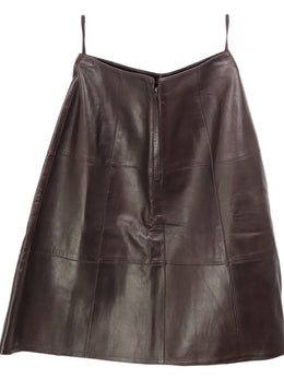 Chanel Brown Leather Skirt 2
