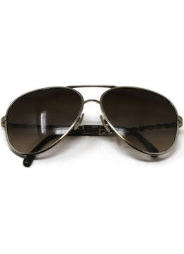 Chanel Brown Sunglasses with Gold Trim and Braided Arm Detail 1