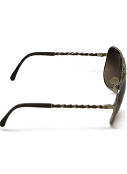 Chanel Brown Sunglasses with Gold Trim and Braided Arm Detail 2
