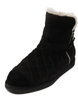 Chanel Brown Quilted Suede Black Shearling Booties 1