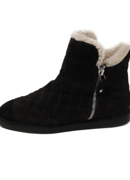 Chanel Brown Quilted Suede Black Shearling Booties 2