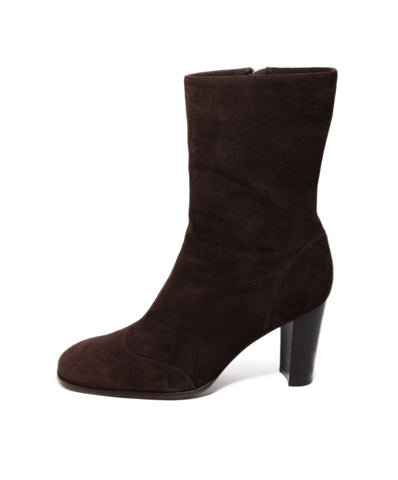 Chanel Brown Suede Booties 1
