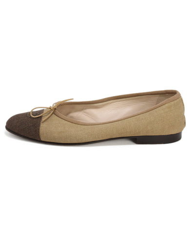 Chanel Brown Tan Canvas Flats 1