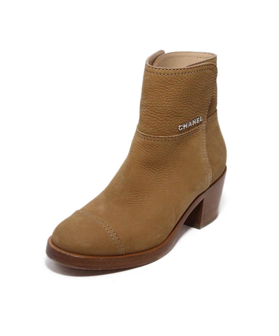 Chanel Brown Tan Leather Boots 1