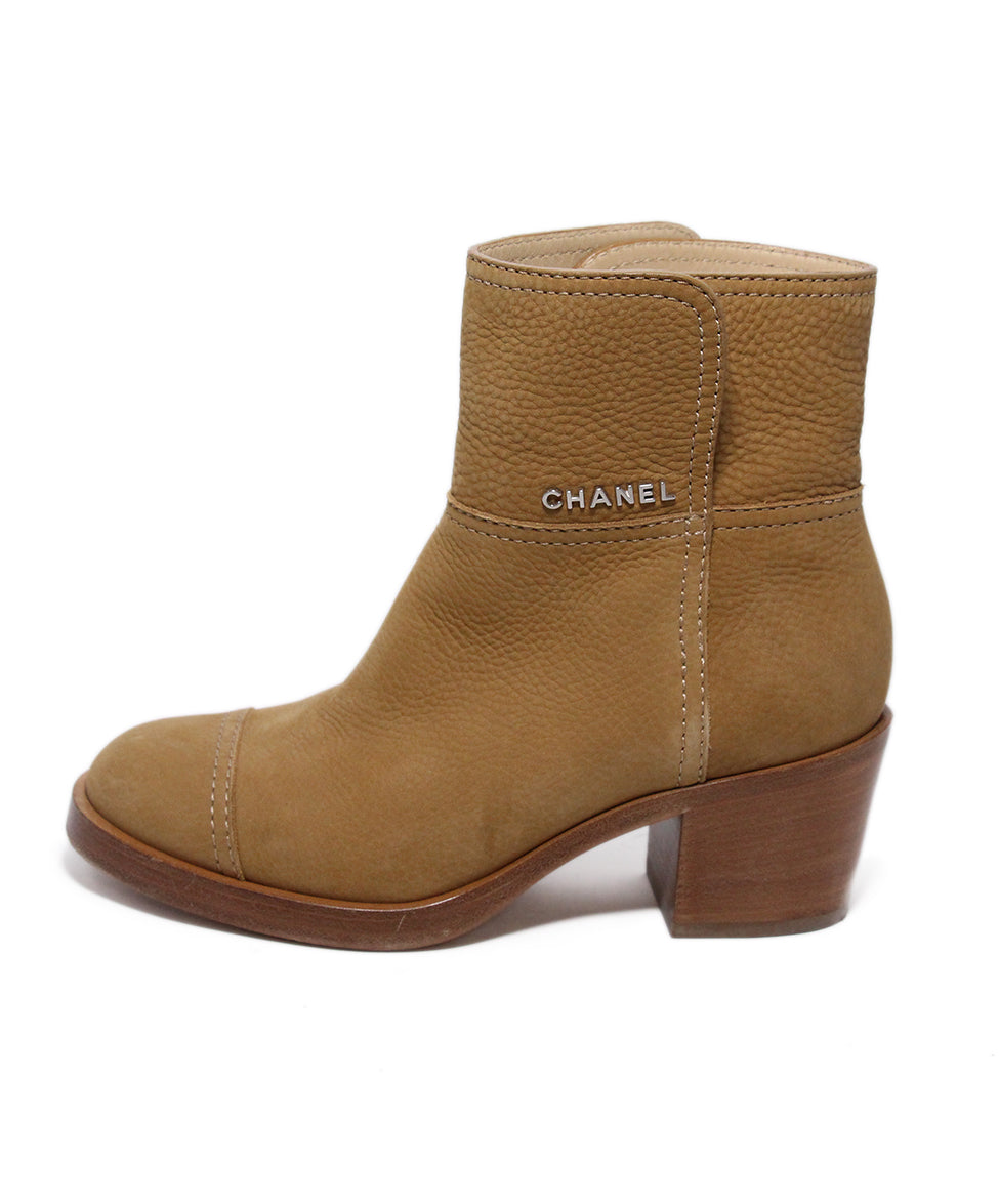 Chanel Brown Tan Leather Boots 2