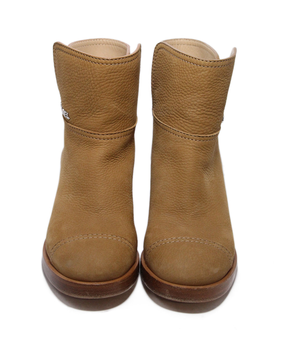 Chanel Brown Tan Leather Boots 4
