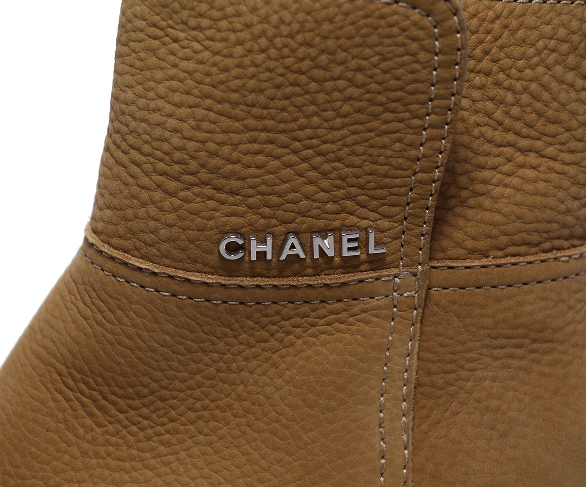 Chanel Brown Tan Leather Boots 7