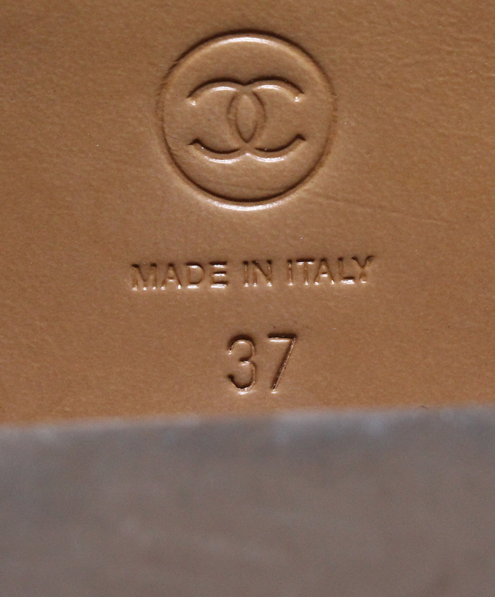 Chanel Brown Tan Leather Boots 6