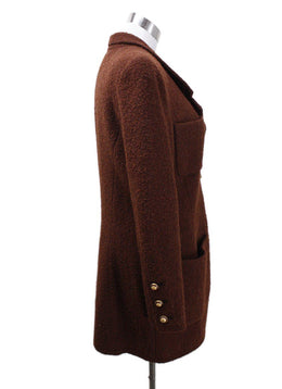 Chanel Brown Wool Coat sz 6