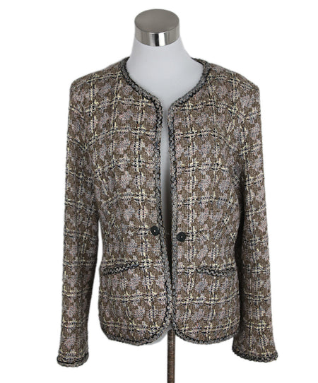 Dries Van Noten Metallic Silver Silk Polyester Jacket sz. 8