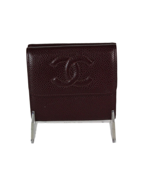 Chanel Burgundy Red Caviar Leather Wallet 3