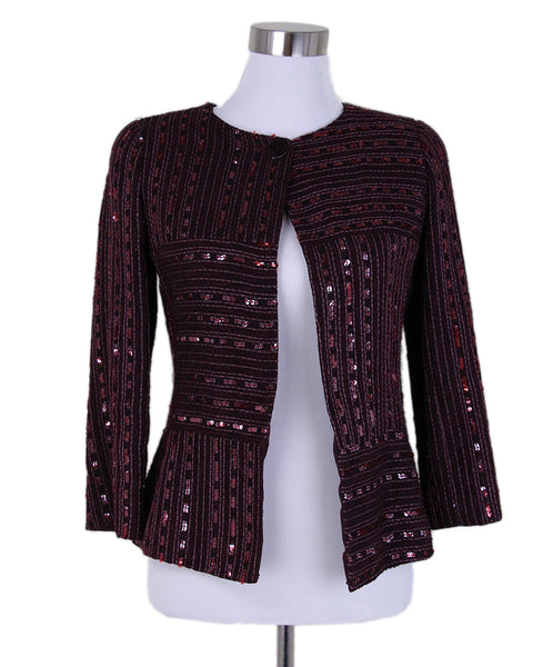 Chanel Burgundy Wool Sequins Jacket 1