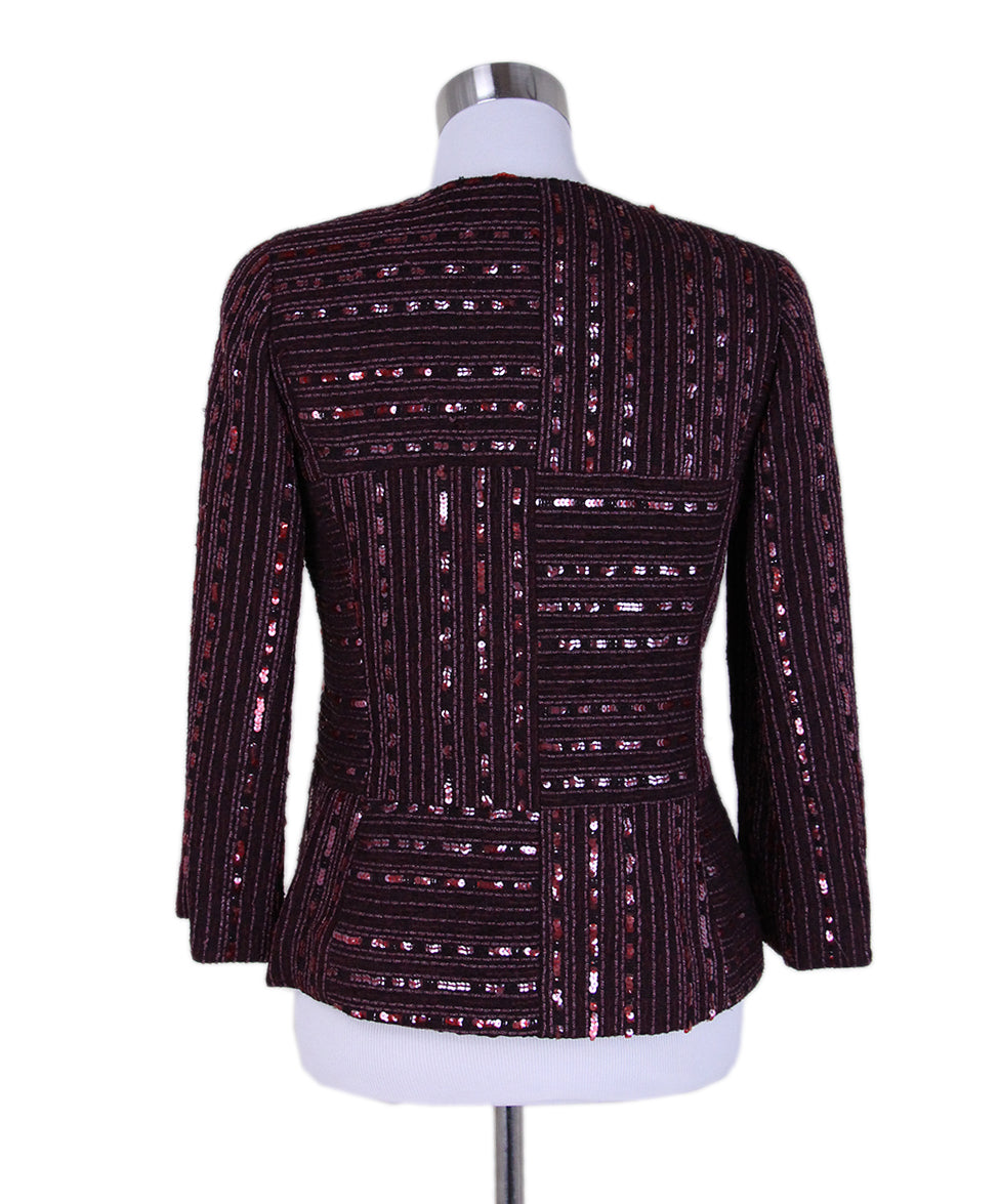 Chanel Burgundy Wool Sequins Jacket 3