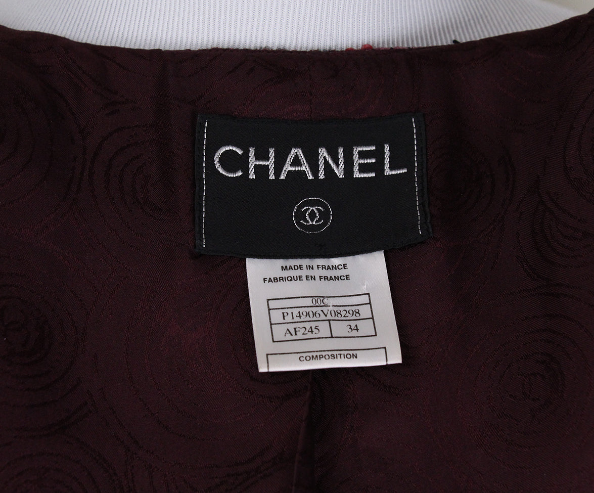 Chanel Burgundy Wool Sequins Jacket 4