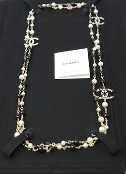 Necklace Chanel Black Pearl W/Box Jewelry 2