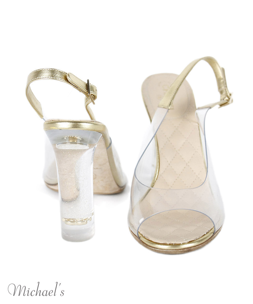 Chanel Clear Lucite Gold Trim Heels Sz 38.5