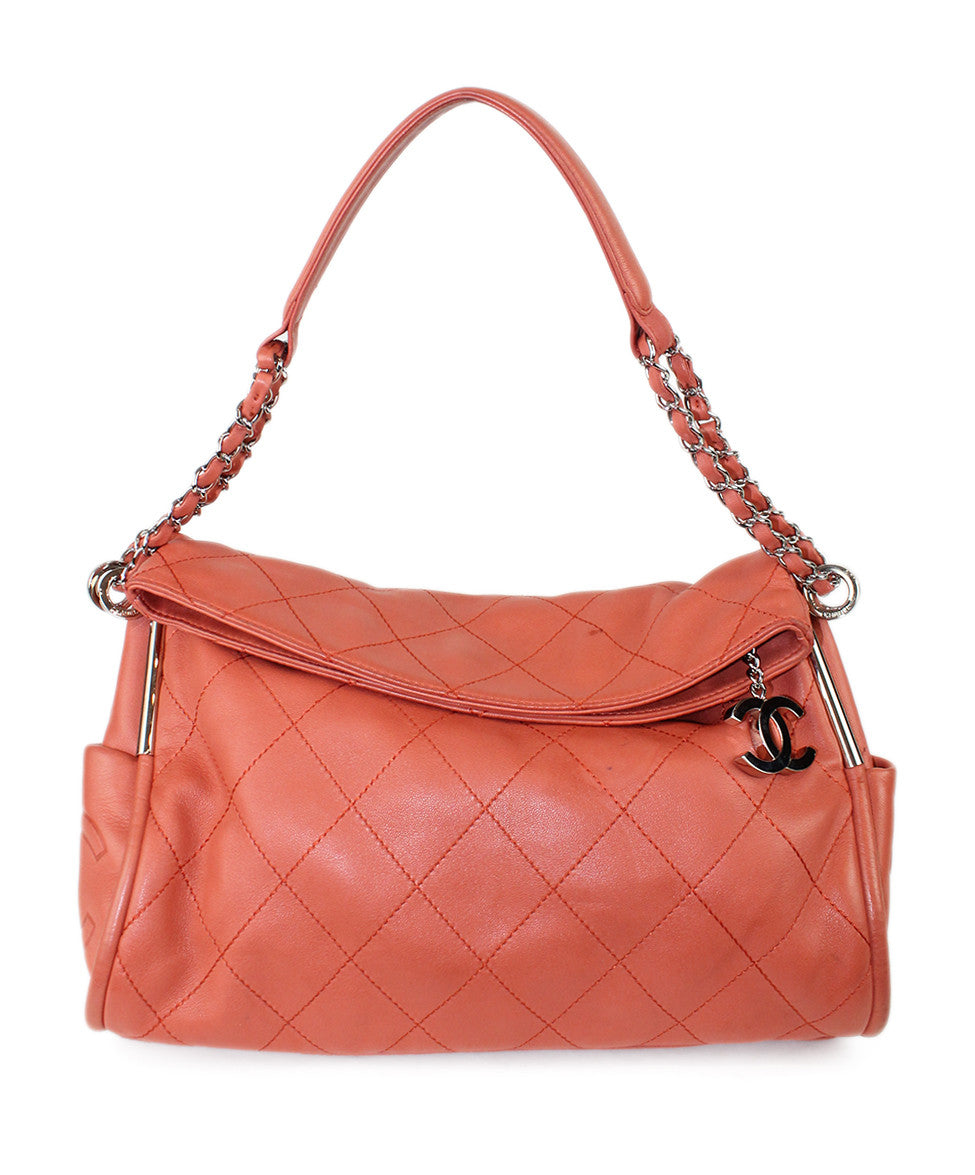 Chanel Coral Leather Quilted Bag - Michael's Consignment NYC  - 1