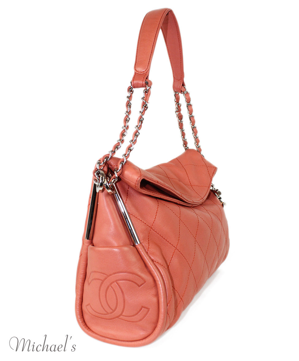 Chanel Coral Leather Quilted Bag - Michael's Consignment NYC  - 2