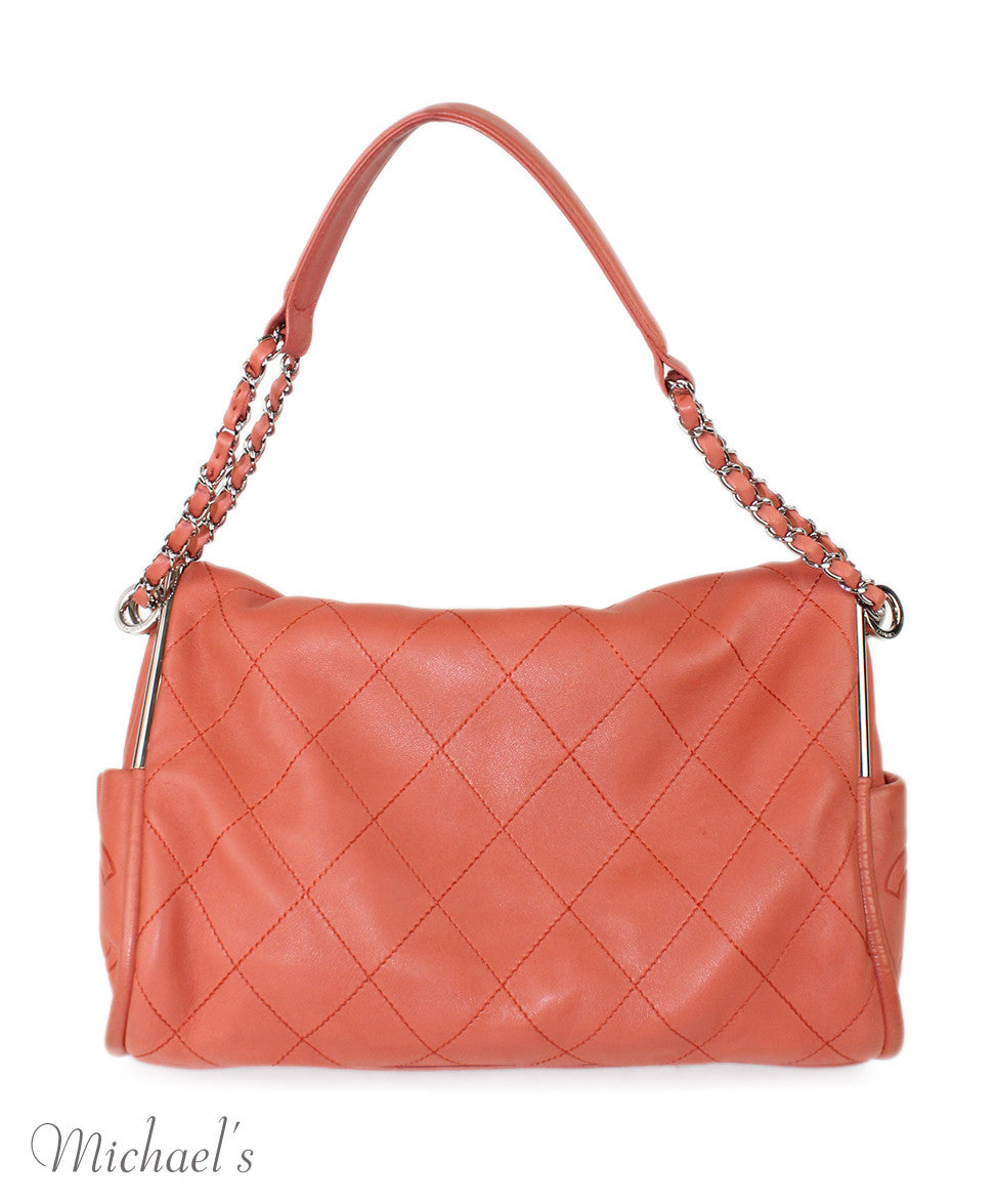 Chanel Coral Leather Quilted Bag - Michael's Consignment NYC  - 3