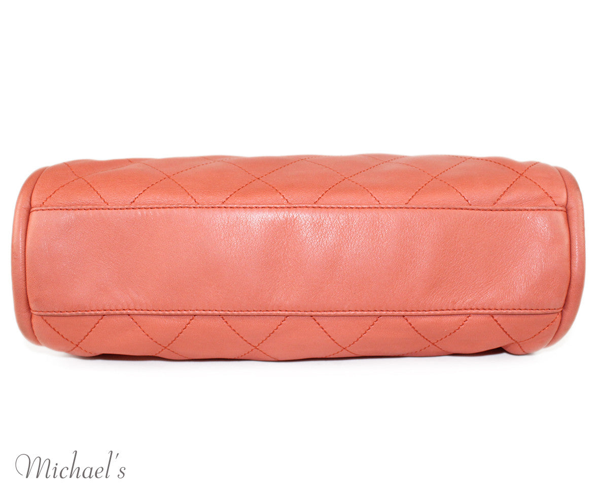 Chanel Coral Leather Quilted Bag - Michael's Consignment NYC  - 4